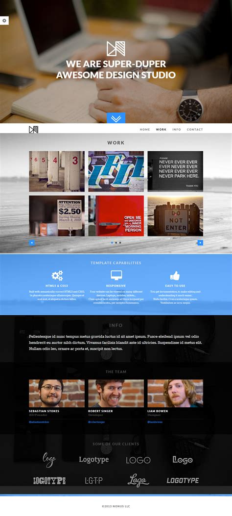Nonus Premium Responsive One Page Parallax Html5 Theme Free Demo Parallax Website Template