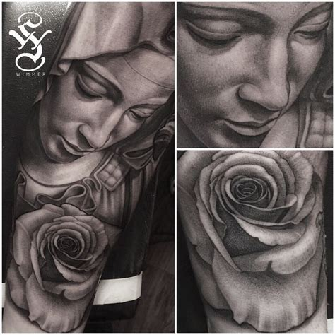 virgin mary tattoo black and grey virgin mary rose tattoo black and gray portrait tattoo by