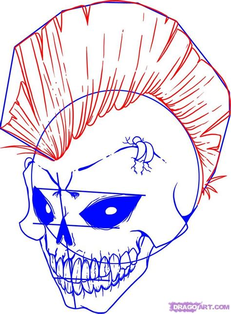 mohawk outline designs how to draw a punk rockin skull step 5 skulls