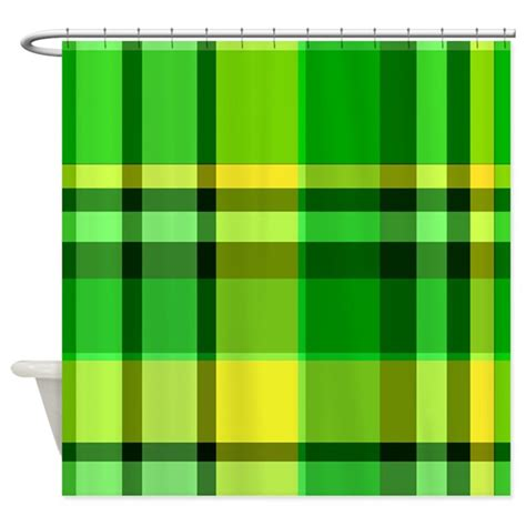 Green And Yellow Curtains Green And Yellow Plaid Shower Curtain By Thecafemarket