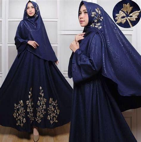 Sakinah Syari Biru baju gamis baloteli emboss bordir 2018 gamissyari net