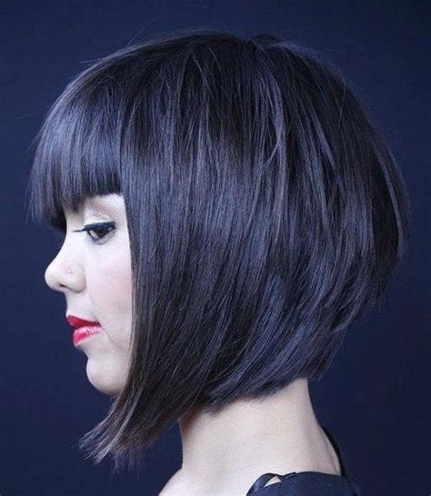 15 best inverted bob with bangs short hairstyles 2017 15 photo of inverted bob hairstyles with blunt bangs