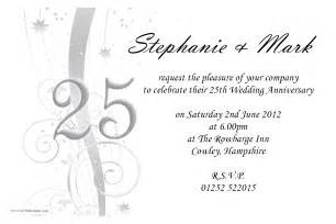 25th wedding anniversary invitation cards designs personalised 25th silver wedding anniversary invitation n9