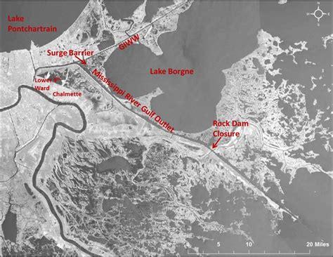 map louisiana dams mrgo mississippi river gulf outlet lake pontchartrain