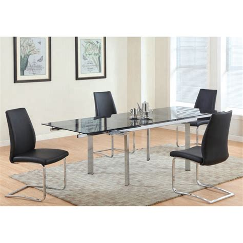 Glass Top Esszimmer Set by Paisley 5 Pieces Extension Dining Set Glass Top Chrome