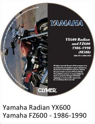 Yamaha Yx600 Radian Fz600 Repair Manual On Cd 1986 1990