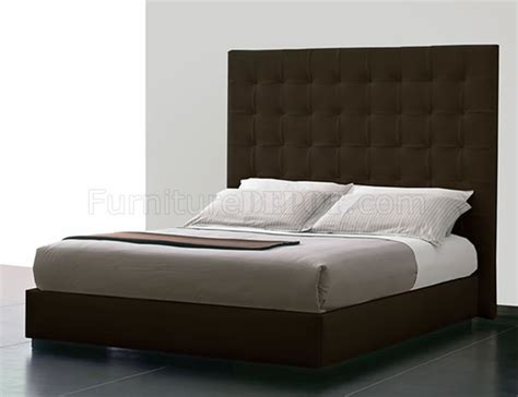 Brown Tufted Leatherette Ludlow Bed W Oversized Headboard