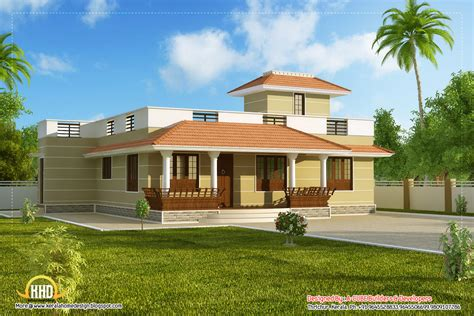 Two Story House Plans With Front Porch by Beautiful Single Story Kerala Model House 1395 Sq Ft