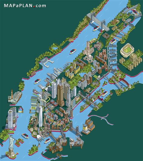 map of nyc with landmarks landmarks aerial birds eye view new york map