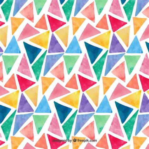 colorful watercolor triangles pattern vector free