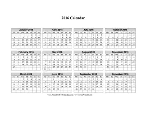 printable calendar 2016 monday first printable 2016 calendar on one page horizontal week