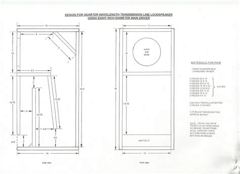 plan for transmission line speaker cabinet using 8 quot main driver