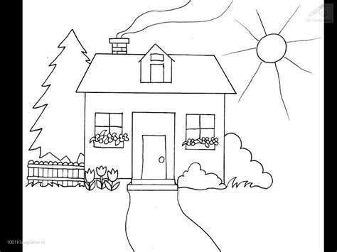 a coloring page of a house free coloring pages