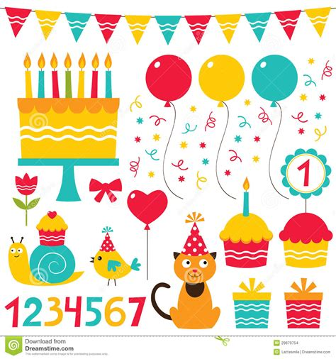 layout for birthday party birthday party design elements stock images image 29679754