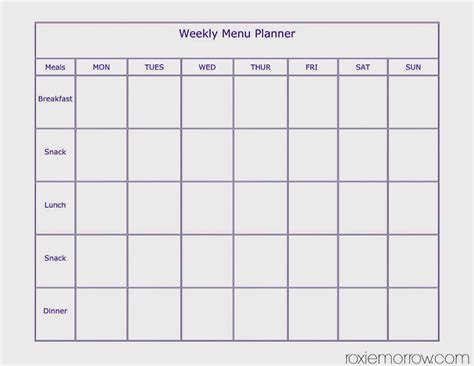 7 day menu template 28 images daily food planner