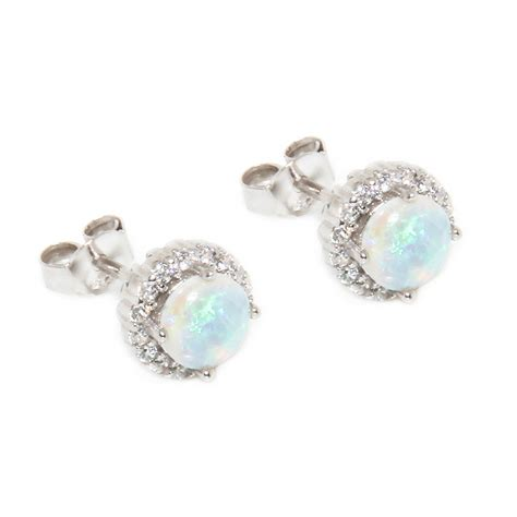 Earrings Sterling Silver sterling silver cz opal stud earrings sste00963
