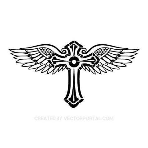 cross with wings tattoo designs cross with wings vector image at vectorportal