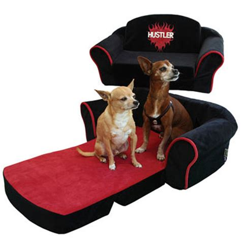hustler couch hustler sleeper sofa dog bed black with red interior at
