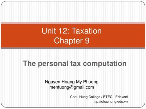 The Personal Mba Chapters by Phuong Taxation In The Uk Chapter 9 The Personal Tax