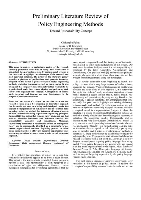 Literature Review Section Of A Research Paper by Preliminary Literature Review Of Policy Engineering Methods
