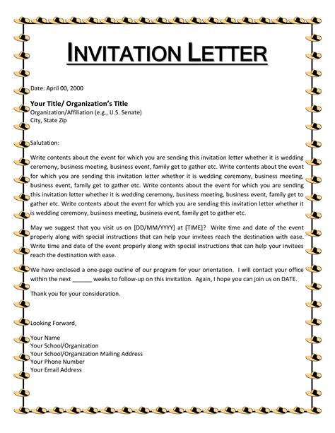 invitation letter format invitation letter for event writing professional letters