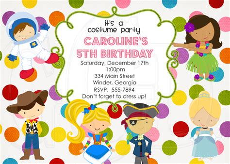 kids costumes party invitations festival collections