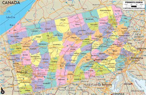 map of pa counties political map of pennsylvania ezilon maps