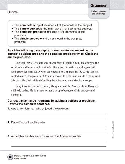 macmillan language book 1 worksheets grammar 5th grade