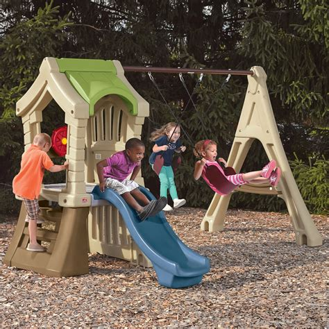 step 2 slide and swing set play up gym set kids swing set step2