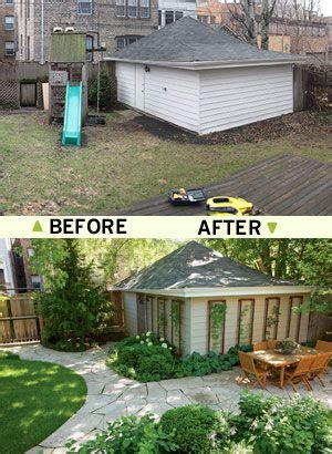 Small Backyard Ideas Before After How To Transform A Sad Garage Yard Into A Thing Of Backyards And Landscaping