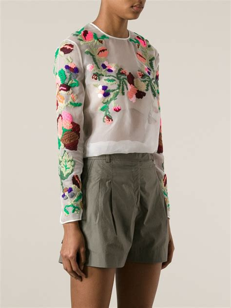 Floral Embroidered Top valentino floral embroidered top in white lyst