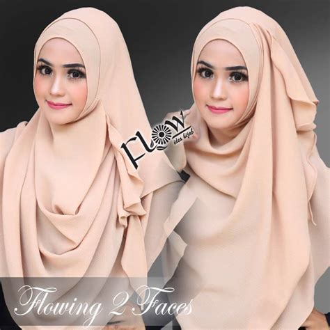 Jilbab Flowing Lipit 2loops 10 jilbab instan 2 faces flowing by flow idea original