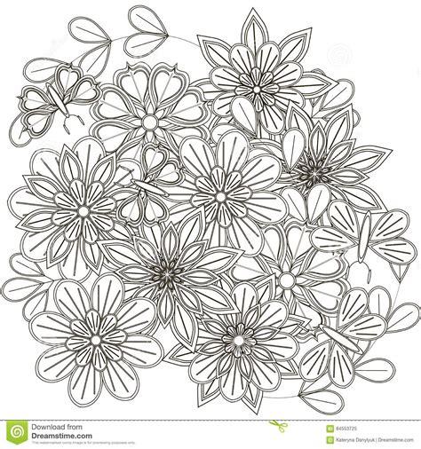 fiori stilizzati in bianco e nero schizzo in bianco e nero mazzo dei fiori stilizzati e