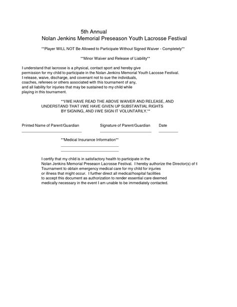 insurance waiver template doc 676870 waiver templates free printable sle
