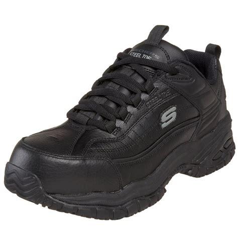 skechers soft stride mens black steel toe slip resistant