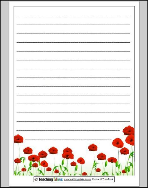 lined paper with poppy border remembrance day poppy paper for writing lined fab