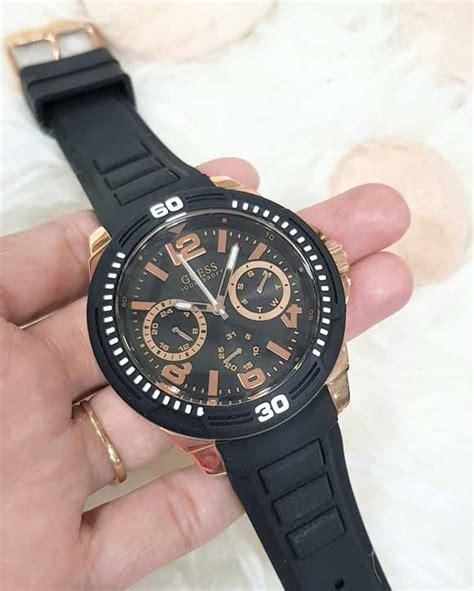 jam tangan guess pria rubber triple chrono  pilihan kw