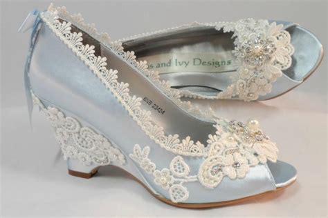 Blue Wedges Wedding by Light Blue Wedding Wedges Lace Wedge Bridal Peeptoe