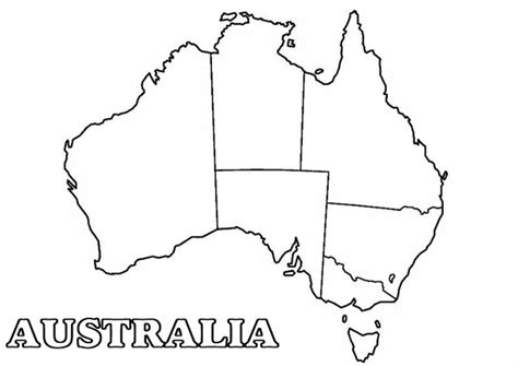 Blank Map Of Australia To Print Australia Map Coloring Page