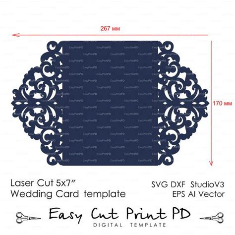 Greeting Card Cut Out Templates For Cricut by Wedding Invitation Pattern Card Template Lace By