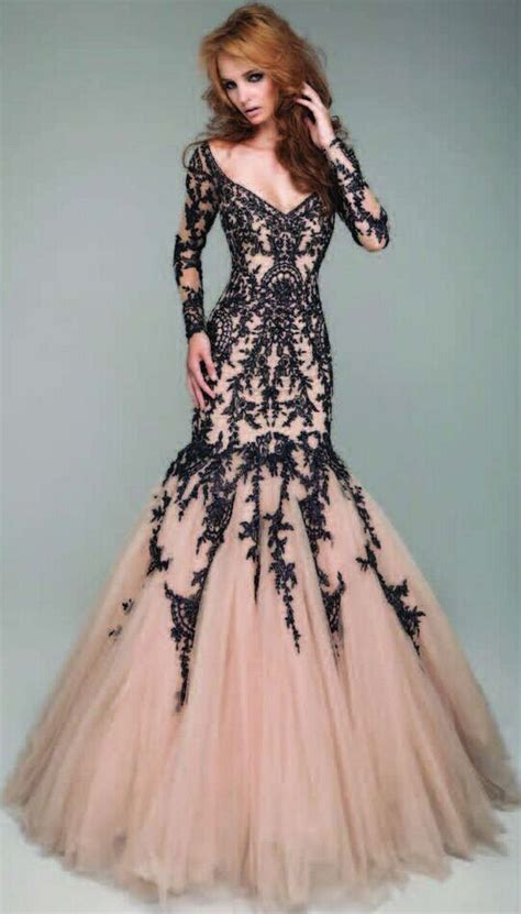 long sleeve lace prom dresses sexy mermaid v neck chagne tulle black lace long sleeve