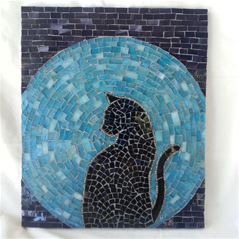 Mosaic Pattern Easy | cat moon rising stained glass mosaic house of the rising cat