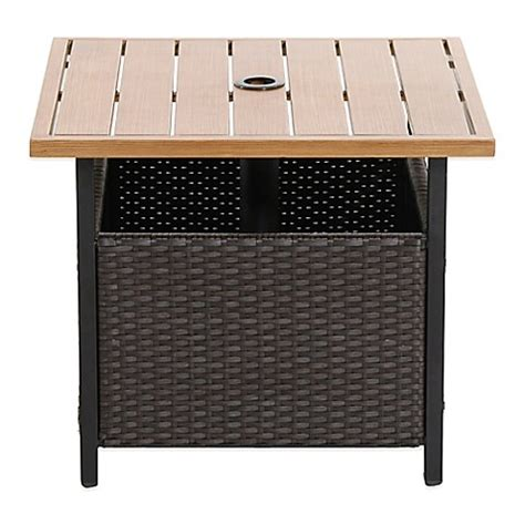 Umbrella Side Table Brushed Wicker Umbrella Side Table Bedbathandbeyond