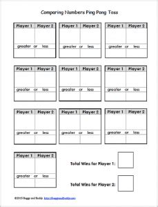 printable comparing numbers games comparing numbers ping pong ball toss math game buggy