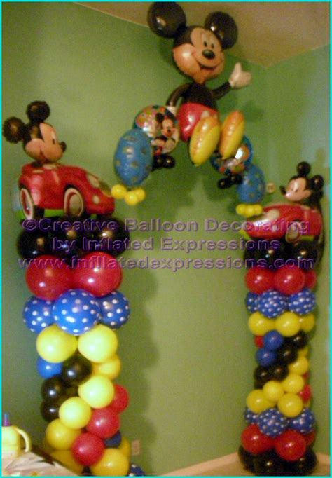 balloon decor mickey mouse theme pin by mireya vera on mickey mouse bday