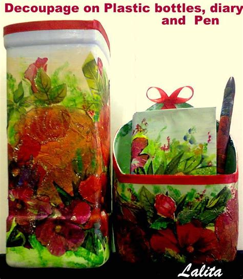 Decoupage On Plastic - re cycle your plastic bottles and decoupage simple