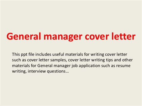 General Manager Cover Letter Exle General Manager Cover Letter