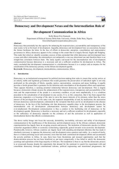 Democracy and development nexus and the intermediation