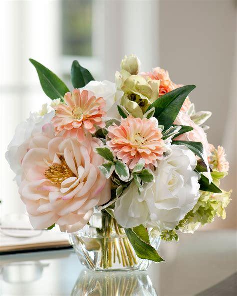 Wedding Cylinder Vases Centerpiece Ideas Soft And Soothing Peaches Amp Cream Silk Flower Arrangement