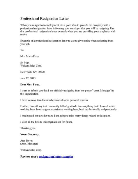 Exle Letter Of Resignation Professional by Professional Resignation Letter